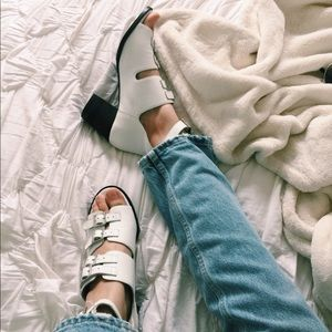 White Buckled Block Heeled Shoes